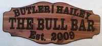 Fancy style wooden sign for the bull bar