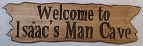 Driftwood styled wooden sign for a man cave