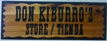 Country styled wooden sign for a store display