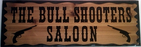 country style wooden saloon sign