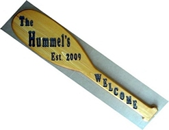 Paddle or Oar shaped routed wooden welcome sign
