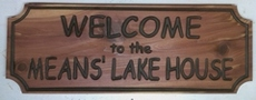 Chipped style wooden sign for  a Lake House