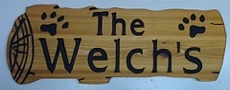 Log shaped wooden sign